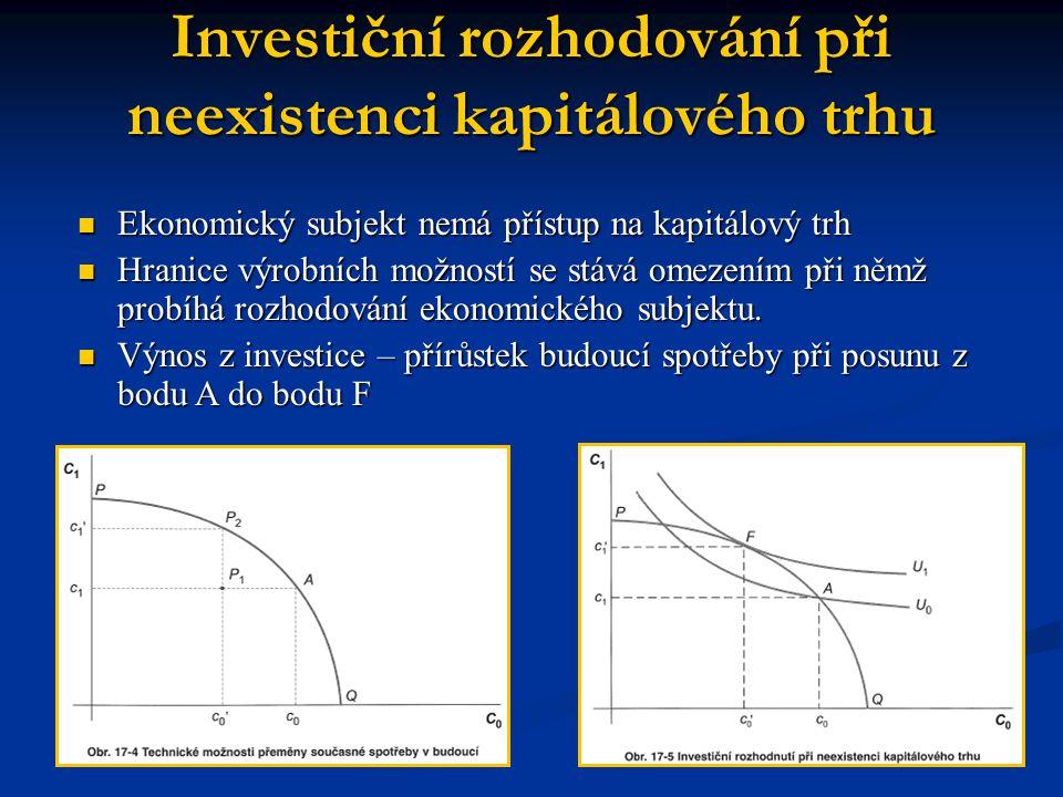 Investiční rozhodování při neexistenci kapitálového trhu