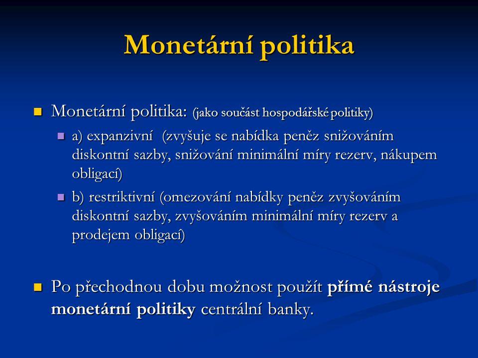 Monetární politika Monetární politika: (jako součást hospodářské politiky)