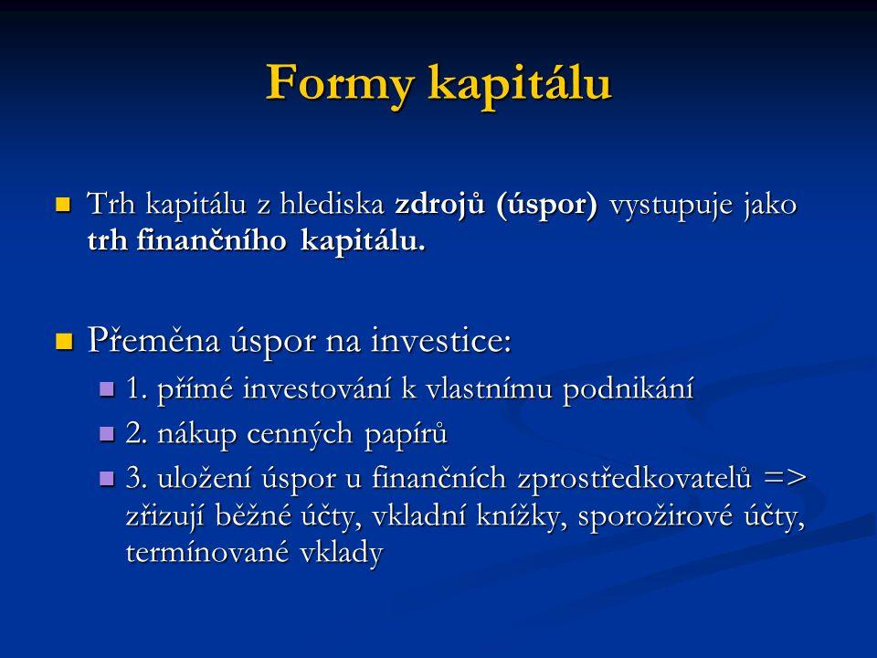 Formy kapitálu Přeměna úspor na investice: