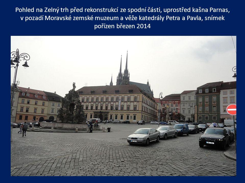 Pohled na Zelný trh před rekonstrukcí ze spodní části, uprostřed kašna Parnas, v pozadí Moravské zemské muzeum a věže katedrály Petra a Pavla, snímek pořízen březen 2014