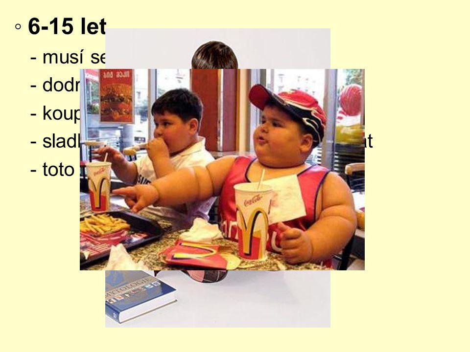 ◦ 6-15 let - musí se snídat - dodržování termínů jídel
