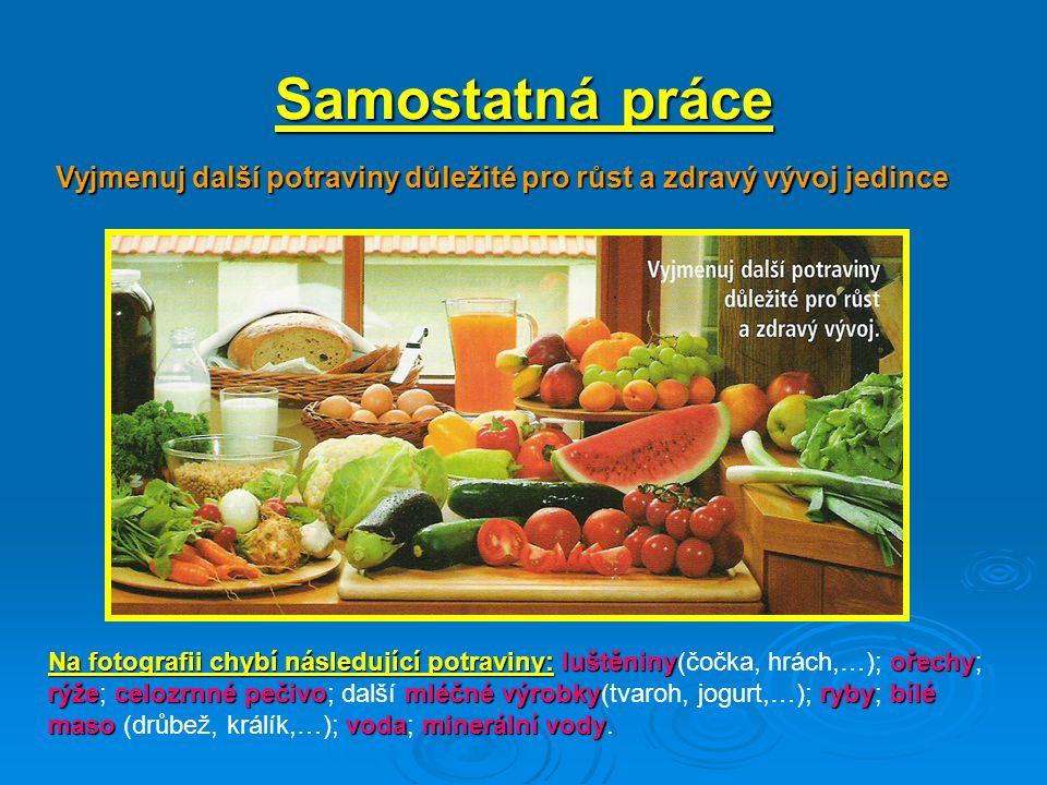 Samostatná práce Vyjmenuj další potraviny důležité pro růst a zdravý vývoj jedince.