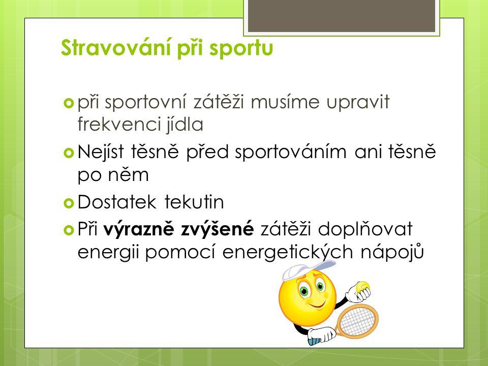 Stravování při sportu při sportovní zátěži musíme upravit frekvenci jídla. Nejíst těsně před sportováním ani těsně po něm.