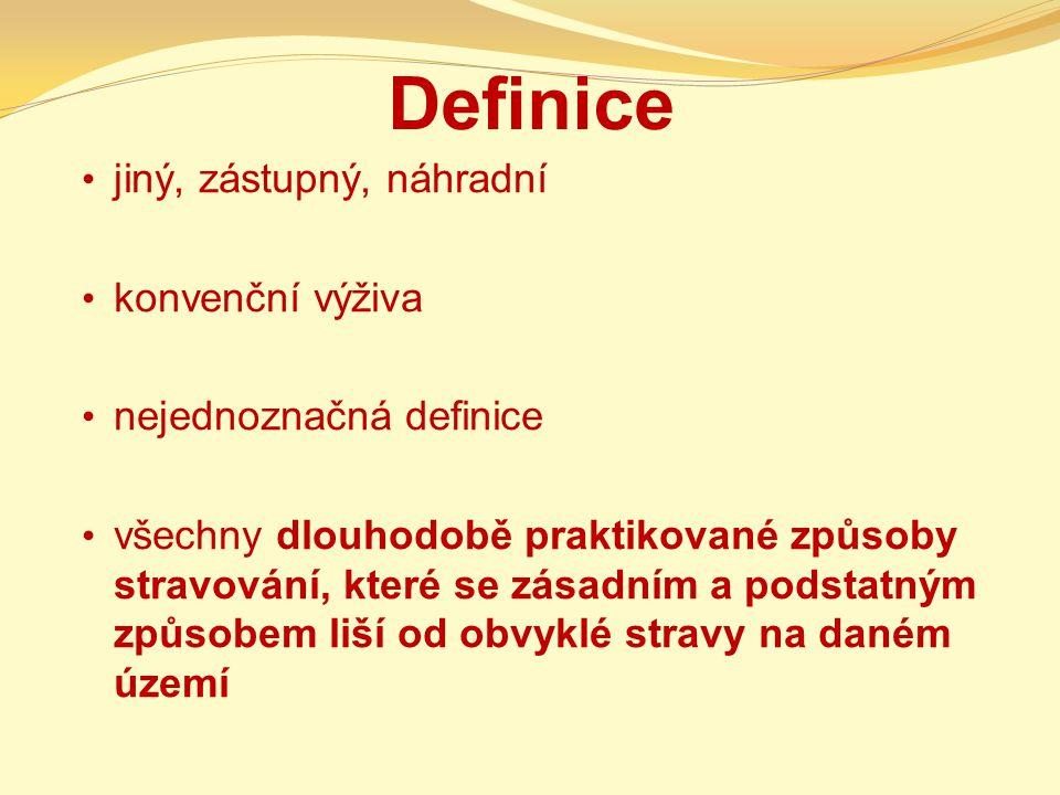 Definice jiný, zástupný, náhradní konvenční výživa