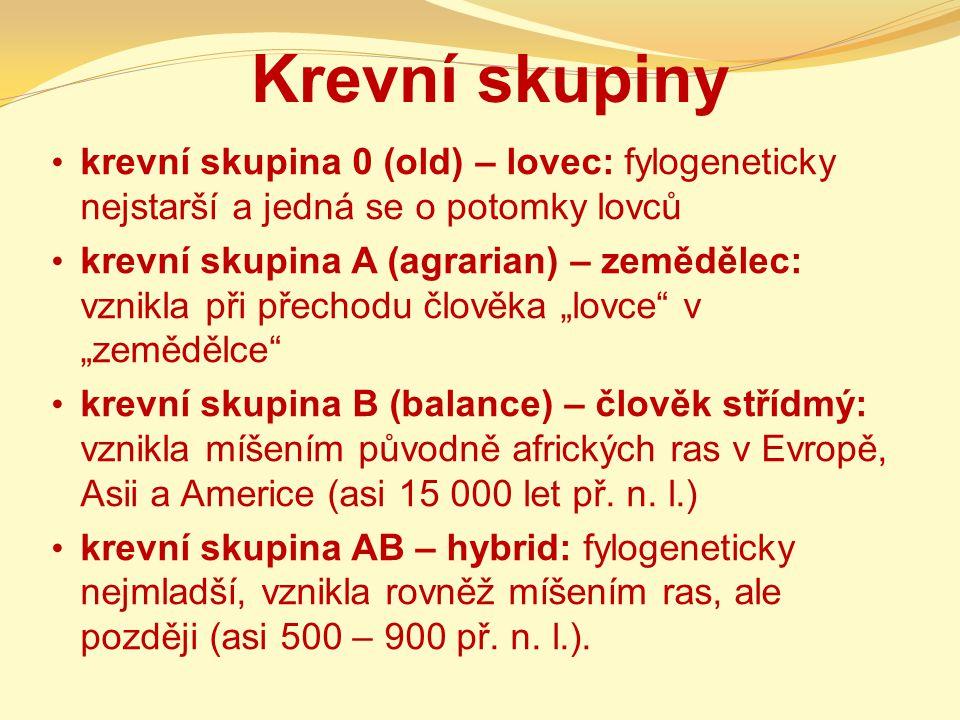 Krevní skupiny krevní skupina 0 (old) – lovec: fylogeneticky nejstarší a jedná se o potomky lovců.