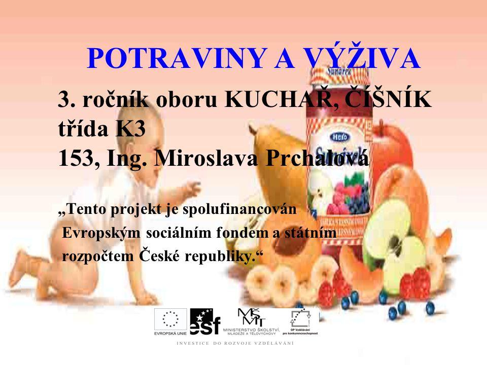 """POTRAVINY A VÝŽIVA 3. ročník oboru KUCHAŘ, ČÍŠNÍK třída K3 153, Ing. Miroslava Prchalová. """"Tento projekt je spolufinancován."""