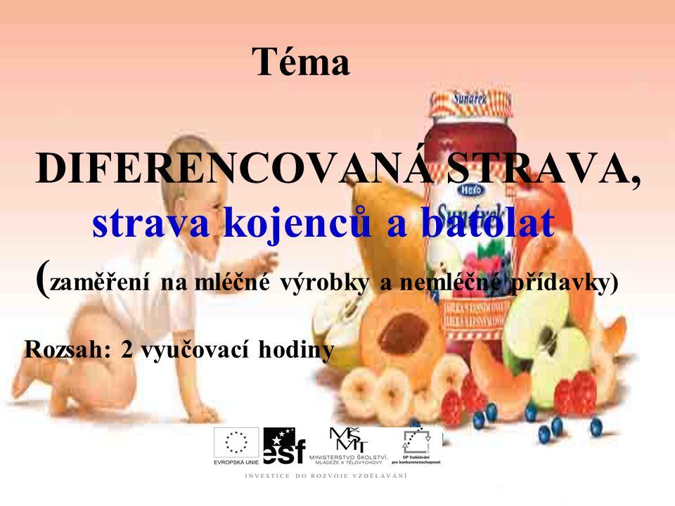 Téma DIFERENCOVANÁ STRAVA, strava kojenců a batolat (zaměření na mléčné výrobky a nemléčné přídavky) Rozsah: 2 vyučovací hodiny