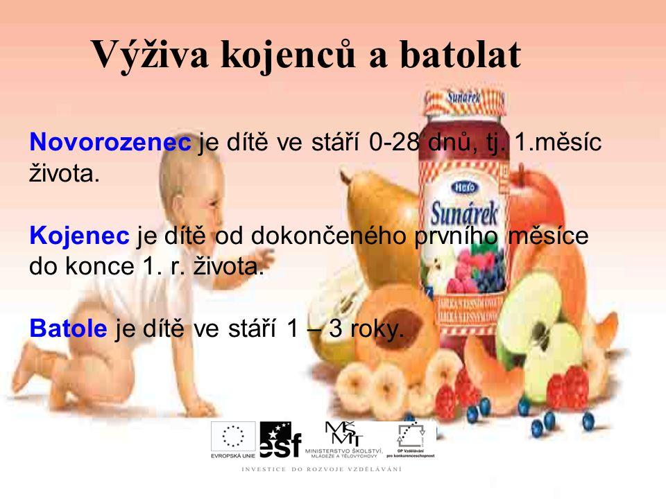 Výživa kojenců a batolat Novorozenec je dítě ve stáří 0-28 dnů, tj. 1