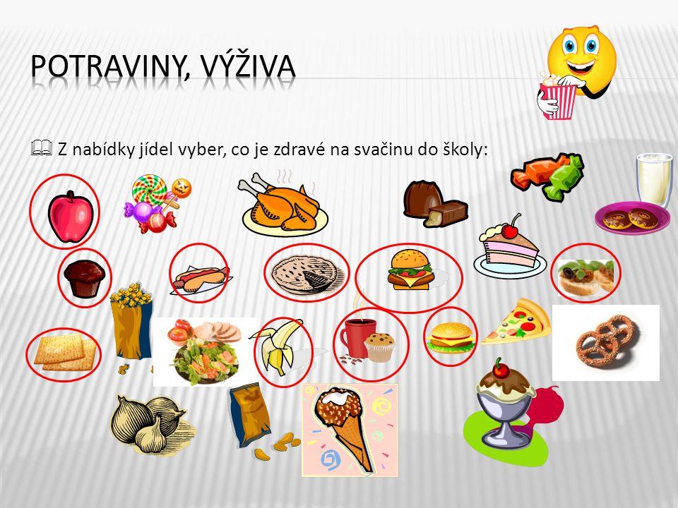 Potraviny, výživa  Z nabídky jídel vyber, co je zdravé na svačinu do školy: