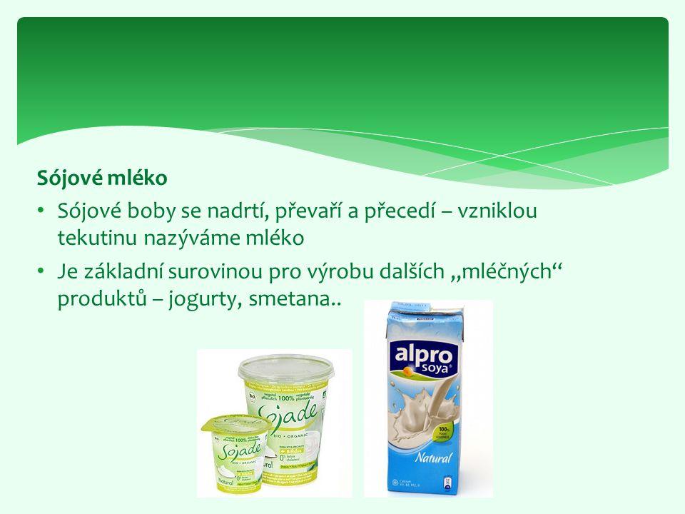 Sójové mléko Sójové boby se nadrtí, převaří a přecedí – vzniklou tekutinu nazýváme mléko.