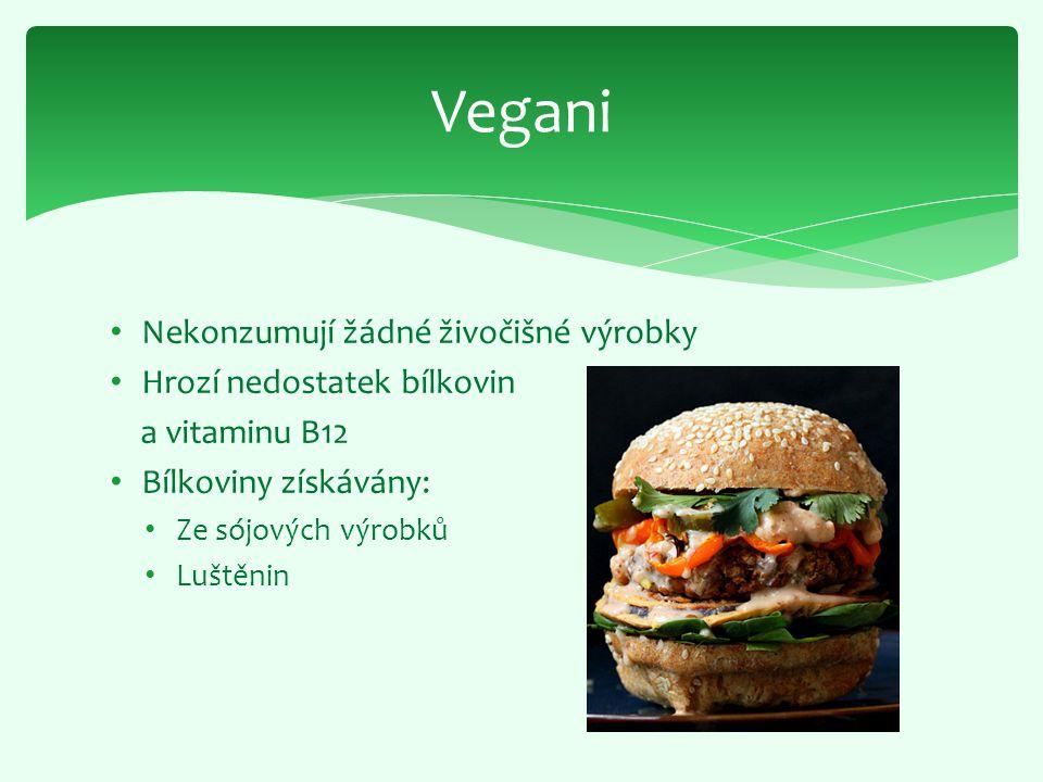 Vegani Nekonzumují žádné živočišné výrobky Hrozí nedostatek bílkovin