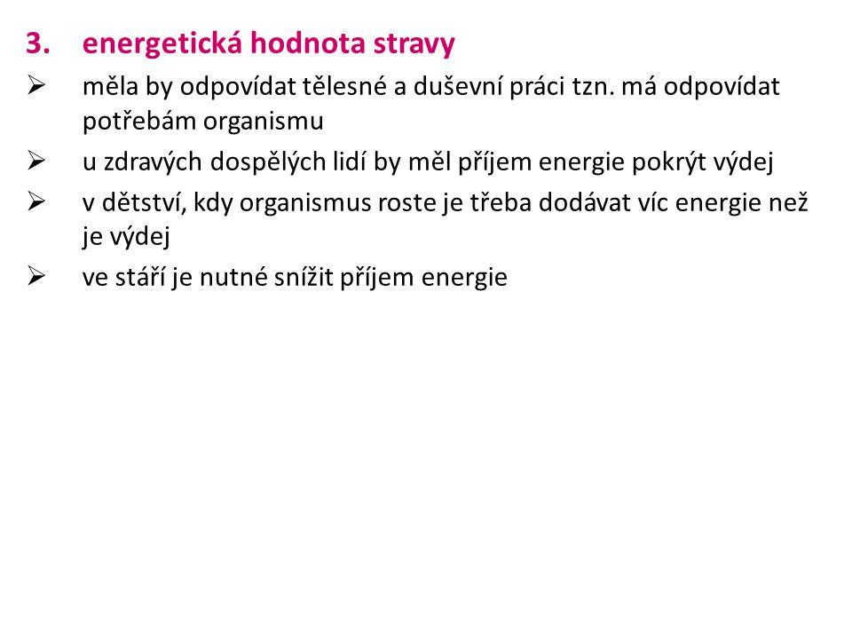 energetická hodnota stravy