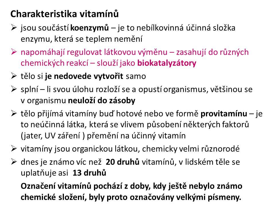 Charakteristika vitamínů