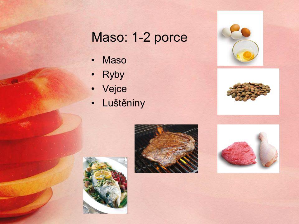 Maso: 1-2 porce Maso Ryby Vejce Luštěniny