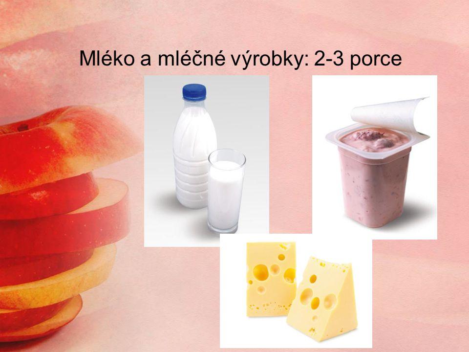 Mléko a mléčné výrobky: 2-3 porce