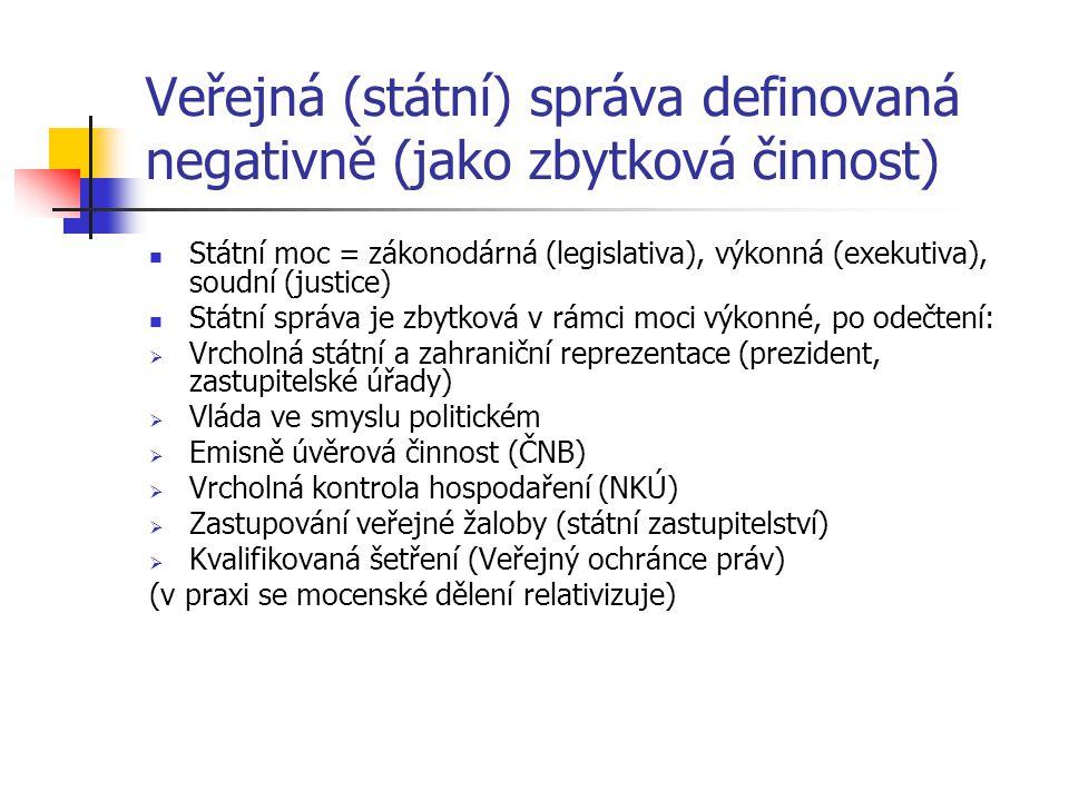 Veřejná (státní) správa definovaná negativně (jako zbytková činnost)