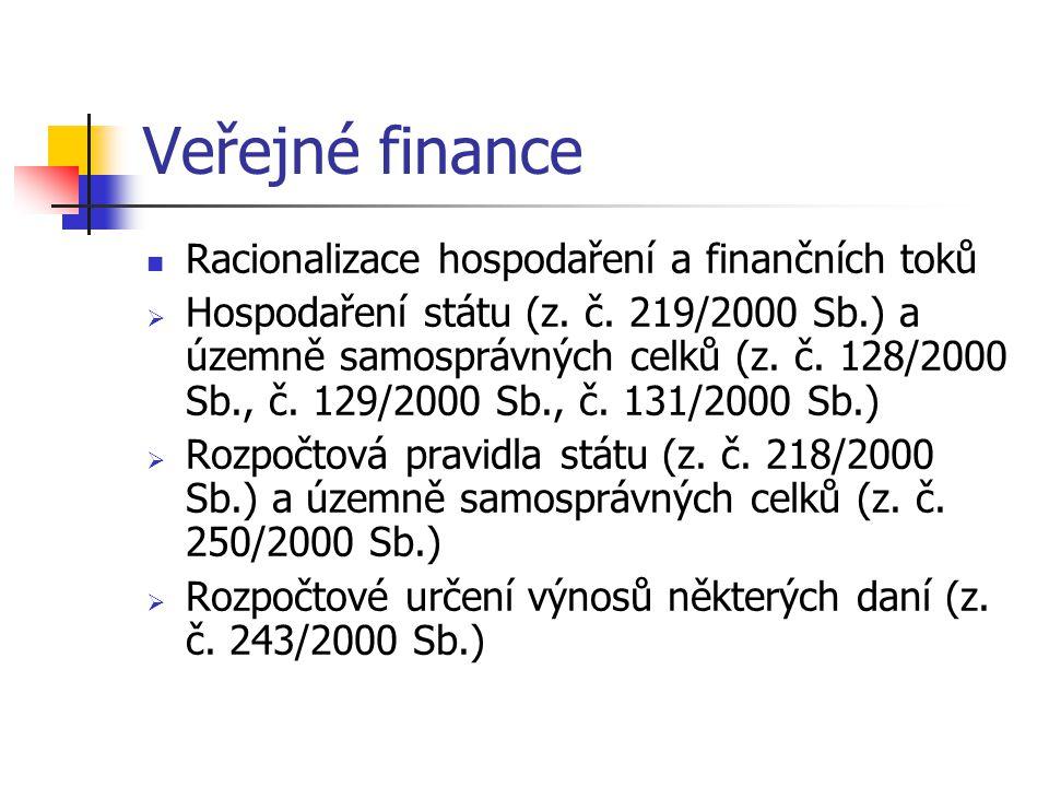 Veřejné finance Racionalizace hospodaření a finančních toků