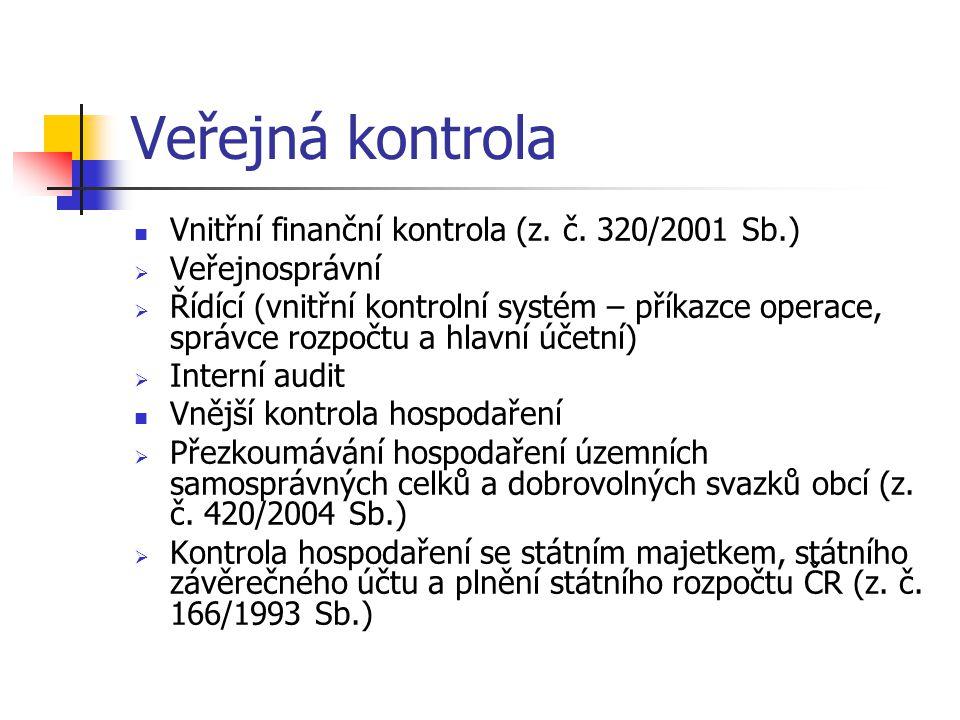 Veřejná kontrola Vnitřní finanční kontrola (z. č. 320/2001 Sb.)