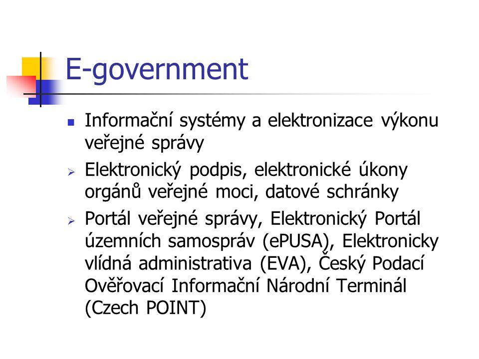 E-government Informační systémy a elektronizace výkonu veřejné správy