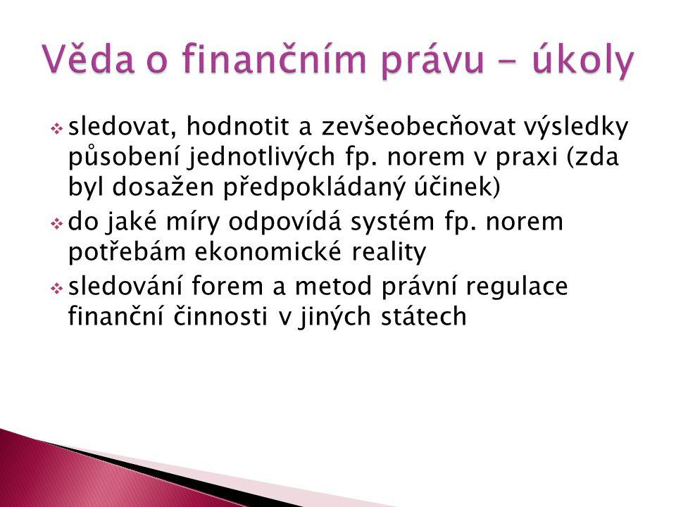 Věda o finančním právu - úkoly