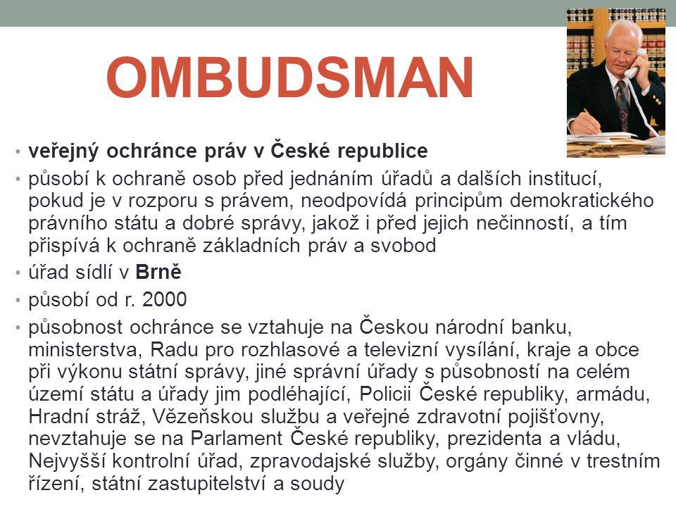 OMBUDSMAN veřejný ochránce práv v České republice
