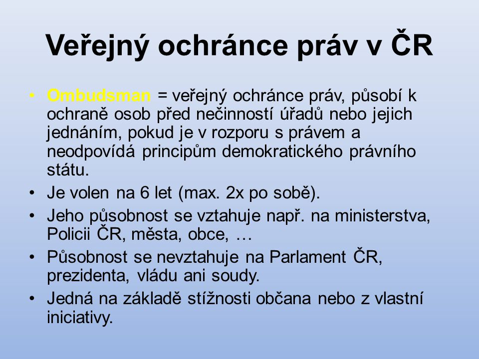 Veřejný ochránce práv v ČR
