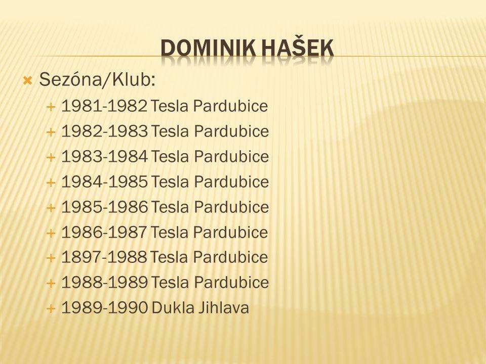 DOMINIK HAŠEK Sezóna/Klub: 1981-1982 Tesla Pardubice