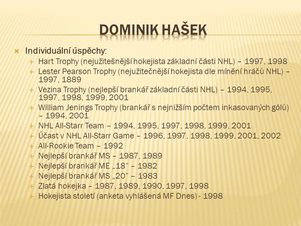 DOMINIK HAŠEK Individuální úspěchy: