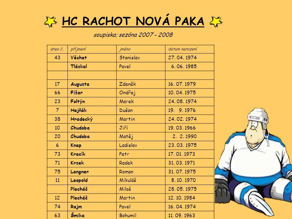 HC RACHOT NOVÁ PAKA soupiska; sezóna 2007 - 2008 43 Věchet Stanislav