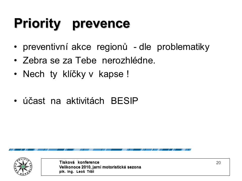 Priority prevence preventivní akce regionů - dle problematiky