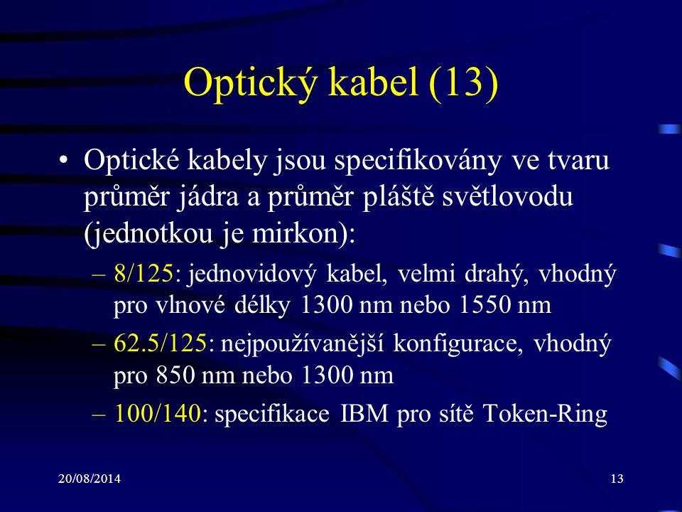 Optický kabel (13) Optické kabely jsou specifikovány ve tvaru průměr jádra a průměr pláště světlovodu (jednotkou je mirkon):