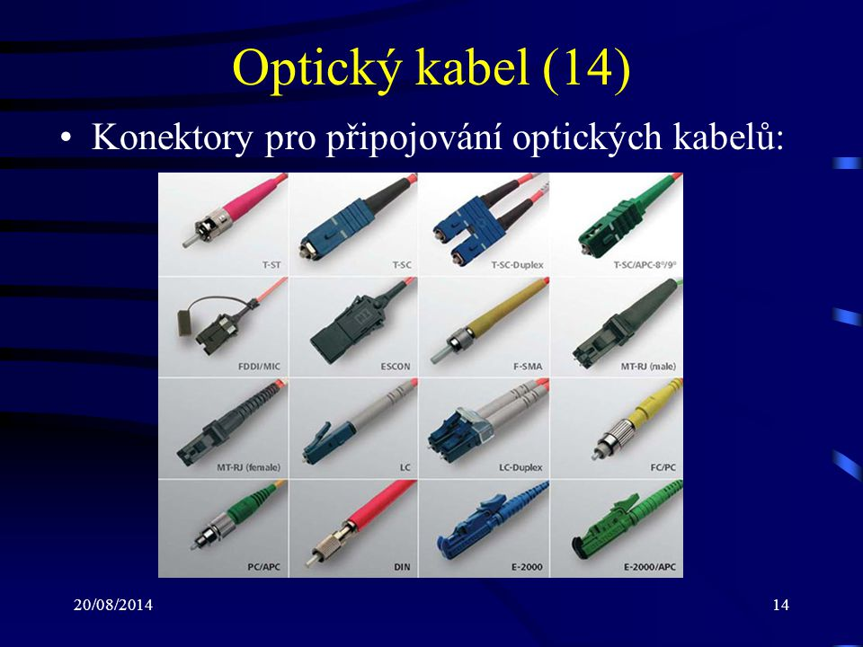Optický kabel (14) Konektory pro připojování optických kabelů: