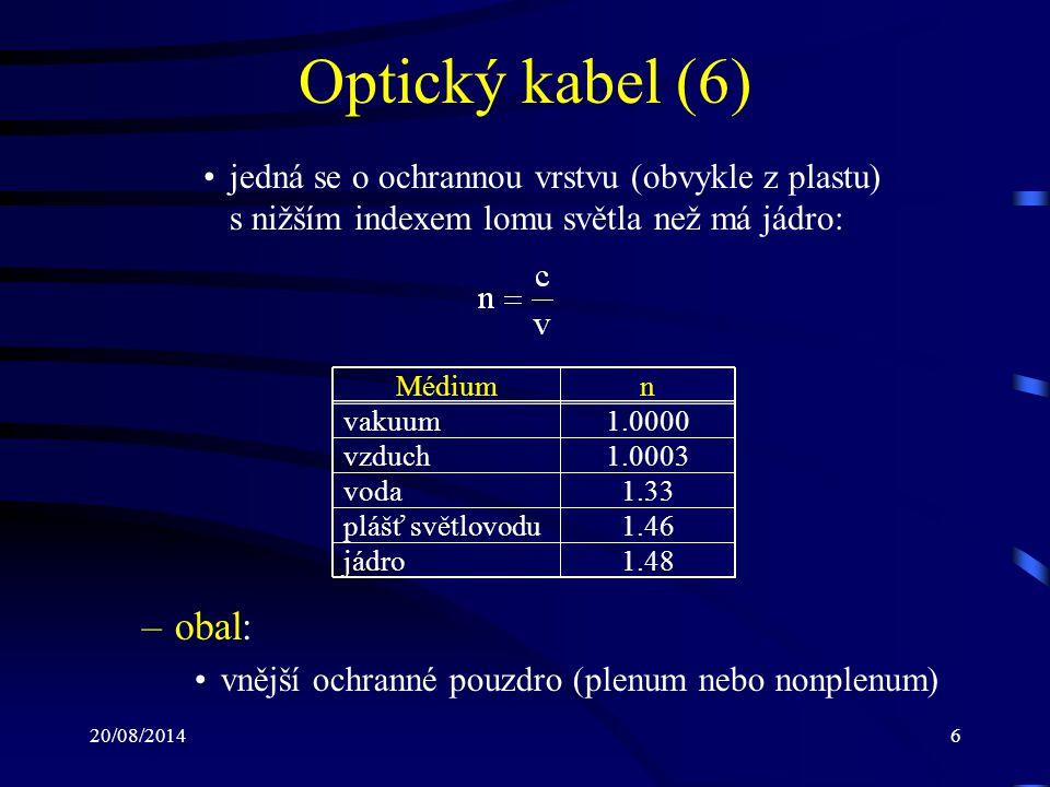 Optický kabel (6) jedná se o ochrannou vrstvu (obvykle z plastu) s nižším indexem lomu světla než má jádro: