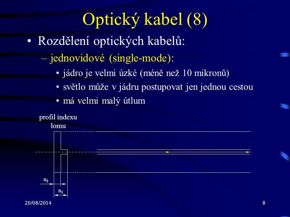 Optický kabel (8) Rozdělení optických kabelů: