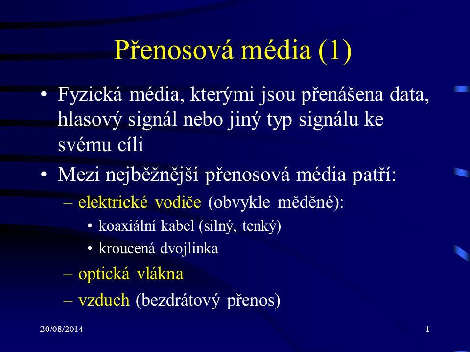 Přenosová média (1) Fyzická média, kterými jsou přenášena data, hlasový signál nebo jiný typ signálu ke svému cíli.