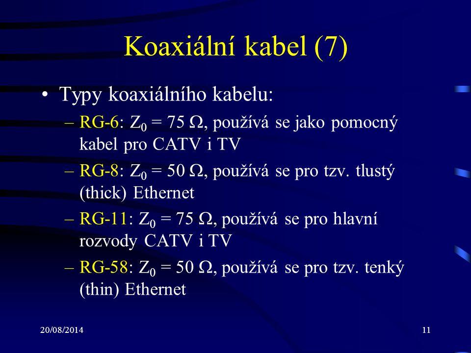 Koaxiální kabel (7) Typy koaxiálního kabelu: