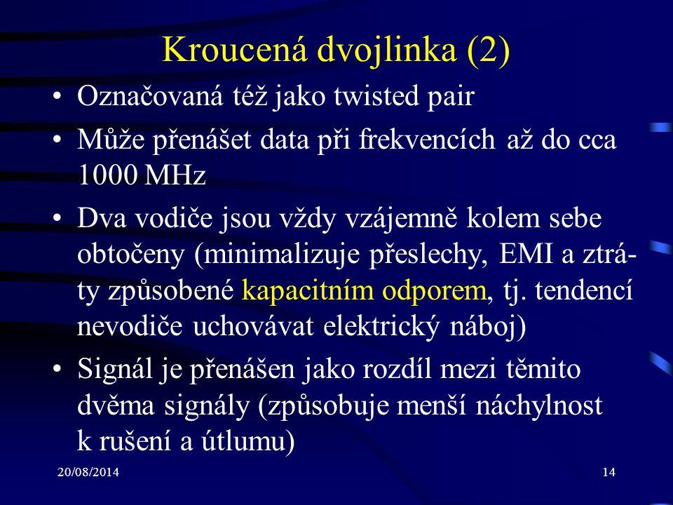 Kroucená dvojlinka (2) Označovaná též jako twisted pair