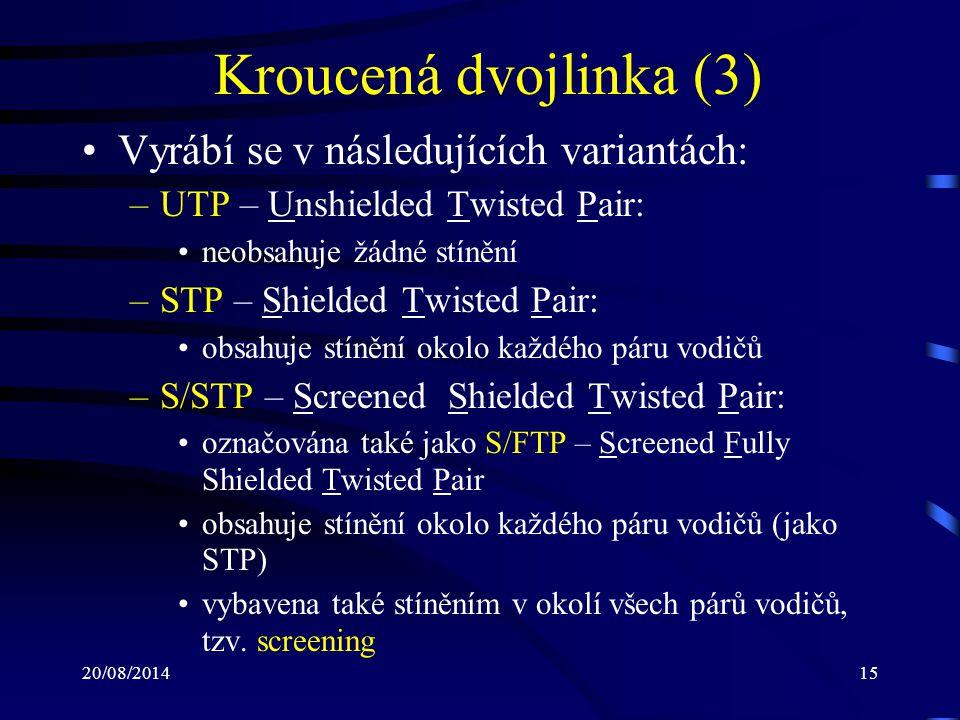 Kroucená dvojlinka (3) Vyrábí se v následujících variantách: