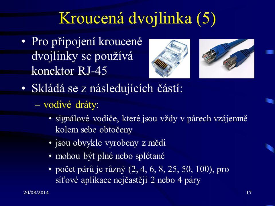 Kroucená dvojlinka (5) Pro připojení kroucené dvojlinky se používá konektor RJ-45. Skládá se z následujících částí: