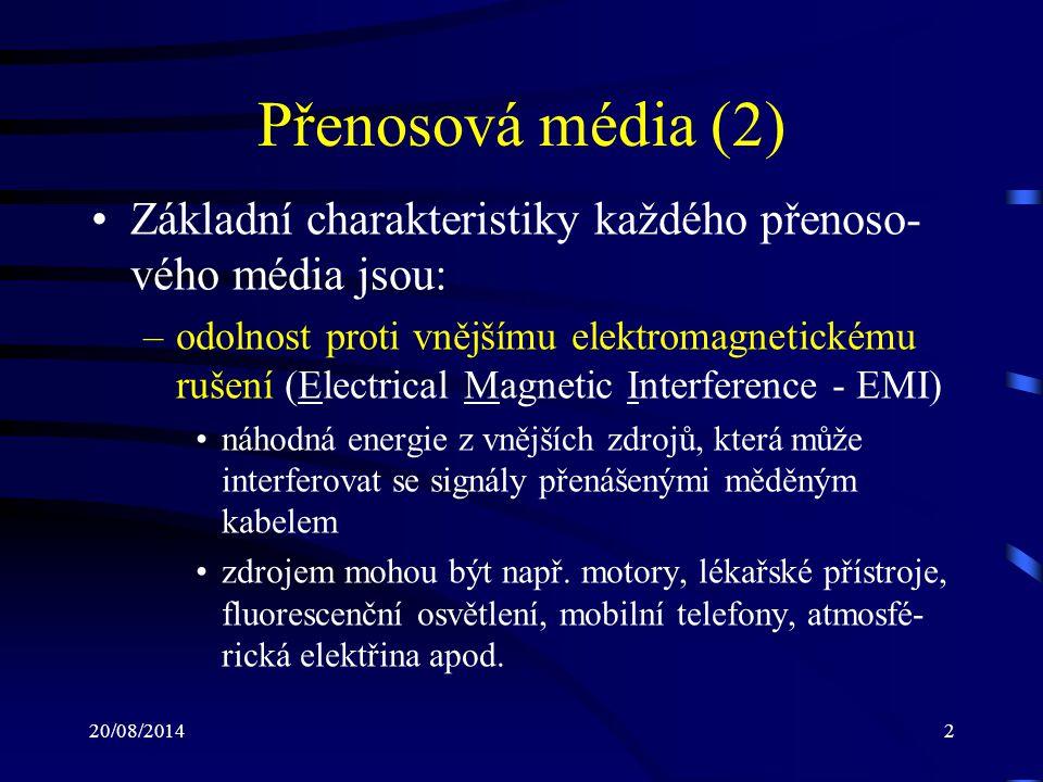 Přenosová média (2) Základní charakteristiky každého přenoso-vého média jsou: