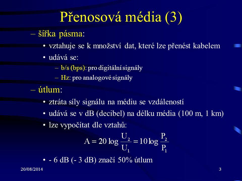 Přenosová média (3) šířka pásma: útlum: