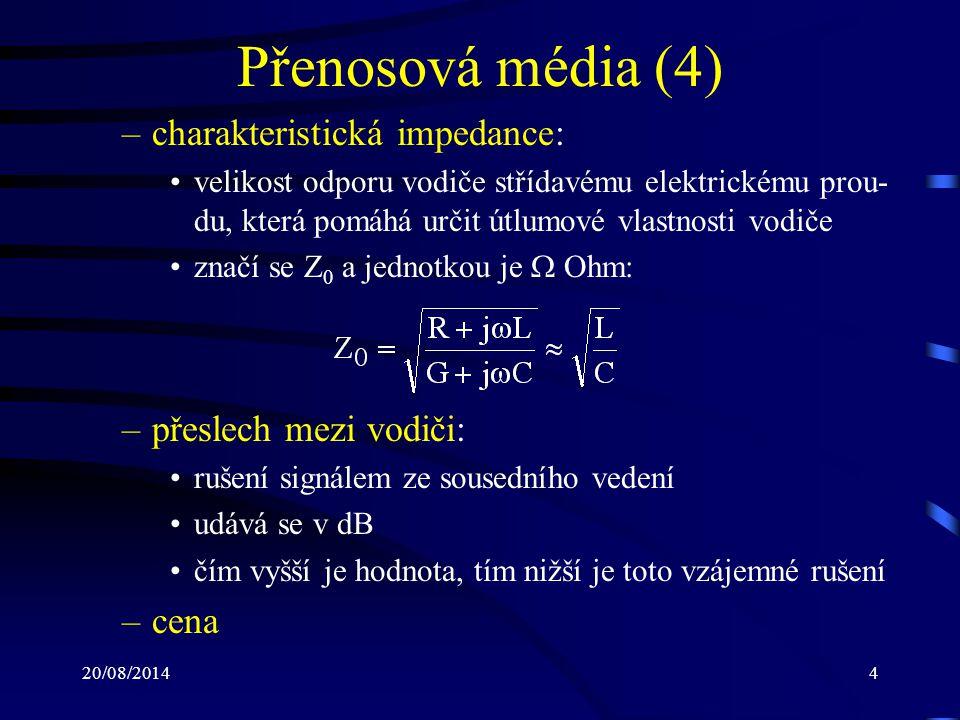 Přenosová média (4) charakteristická impedance: přeslech mezi vodiči: