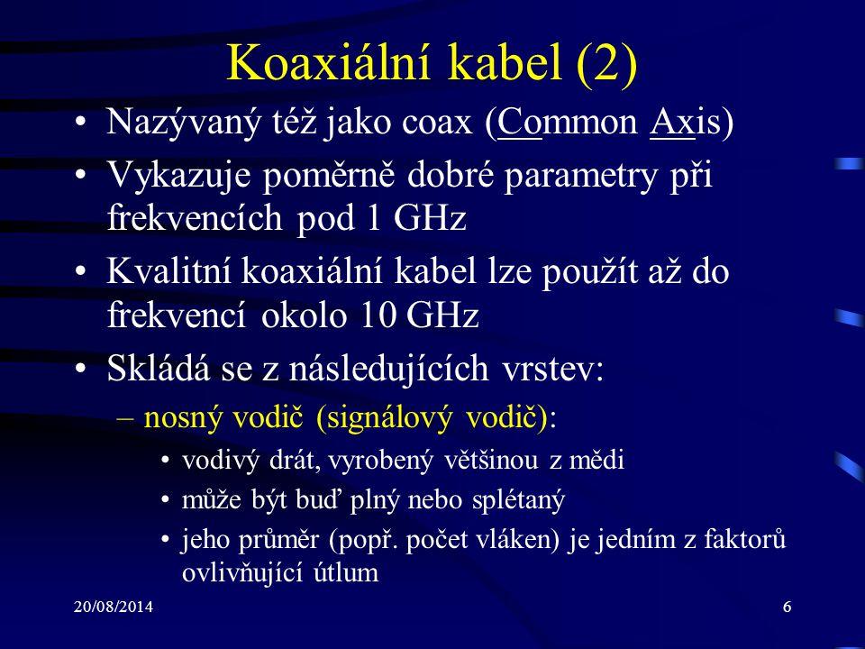 Koaxiální kabel (2) Nazývaný též jako coax (Common Axis)