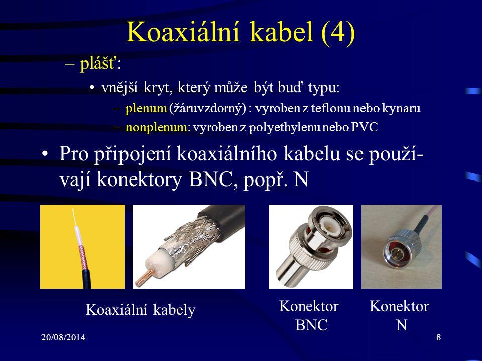 Koaxiální kabel (4) plášť: vnější kryt, který může být buď typu: plenum (žáruvzdorný) : vyroben z teflonu nebo kynaru.