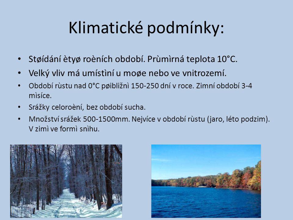 Klimatické podmínky: Støídání ètyø roèních období. Prùmìrná teplota 10°C. Velký vliv má umístìní u moøe nebo ve vnitrozemí.