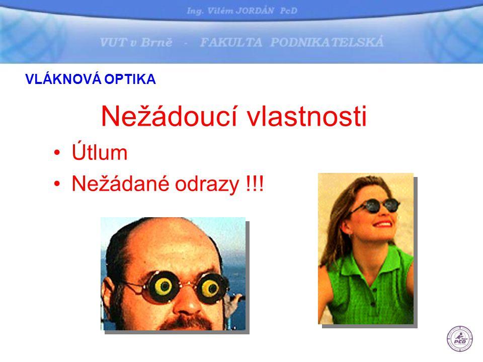VLÁKNOVÁ OPTIKA Nežádoucí vlastnosti Útlum Nežádané odrazy !!!