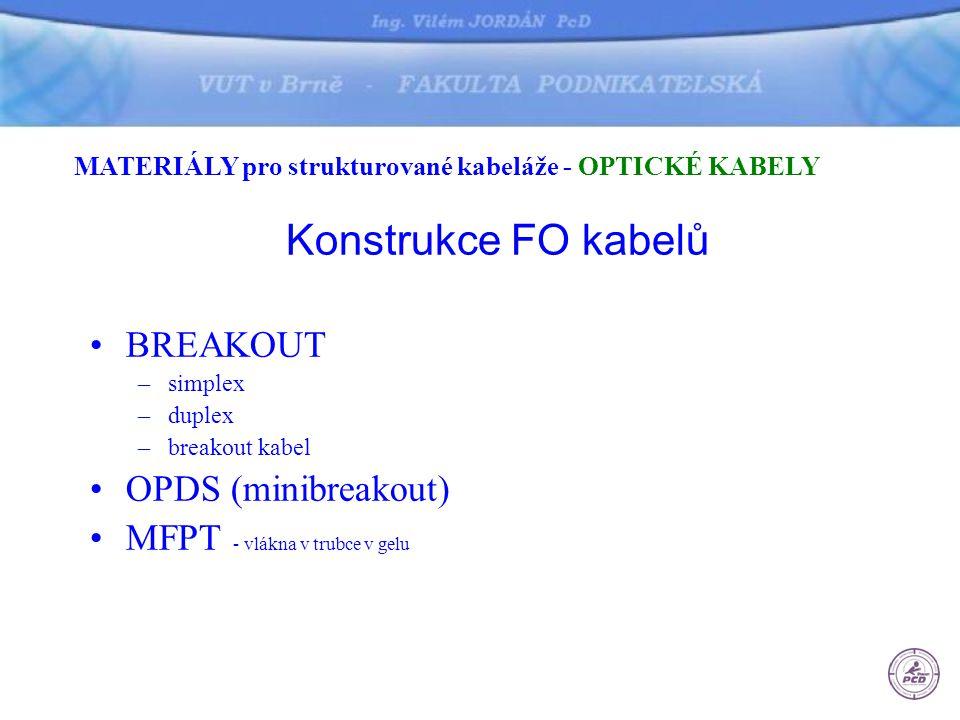 Konstrukce FO kabelů BREAKOUT OPDS (minibreakout)