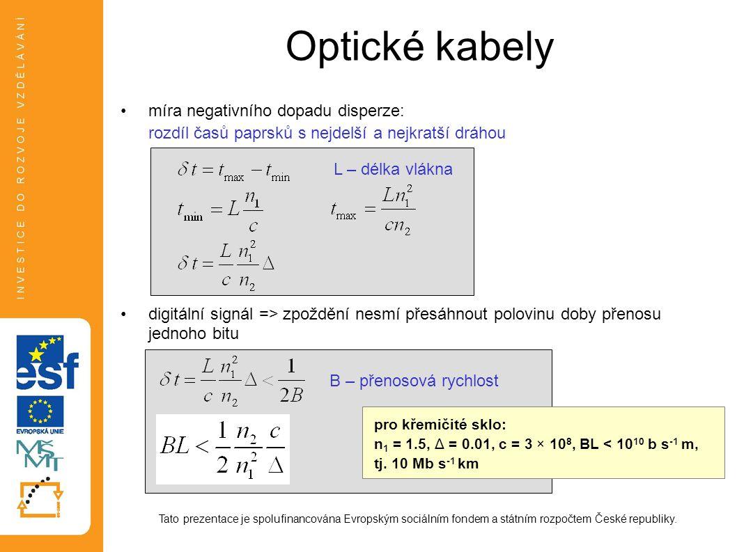 Optické kabely rozdíl časů paprsků s nejdelší a nejkratší dráhou
