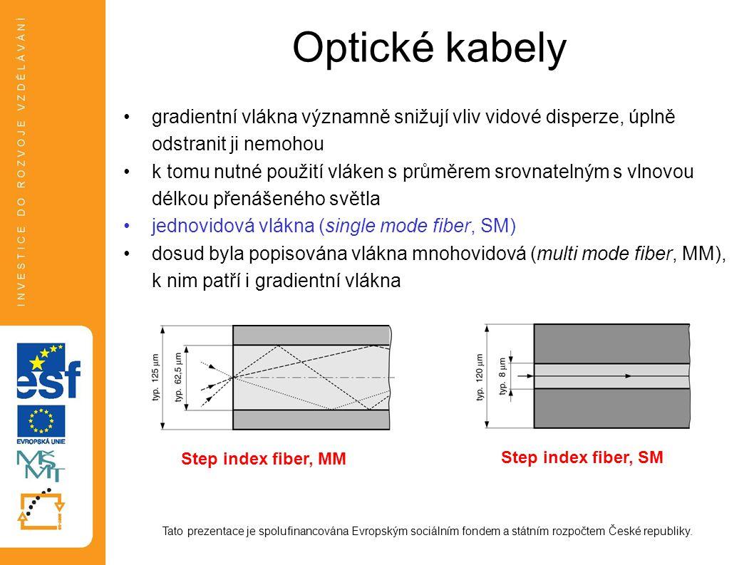 Optické kabely gradientní vlákna významně snižují vliv vidové disperze, úplně odstranit ji nemohou.