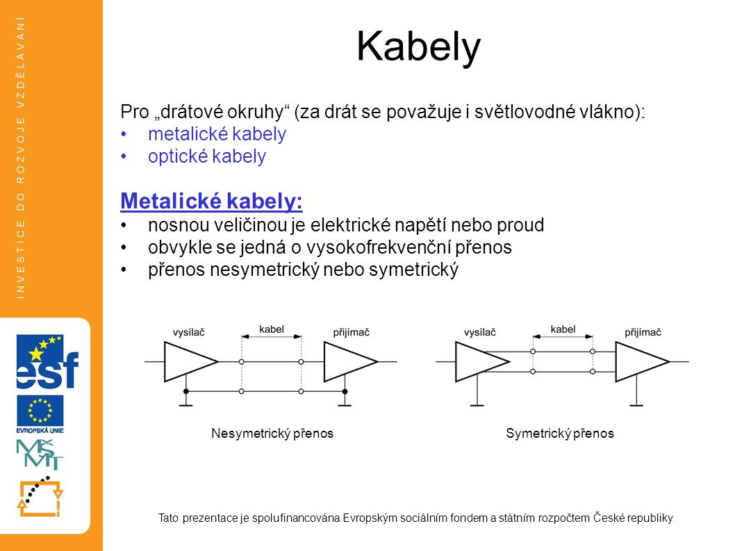 Kabely Metalické kabely:
